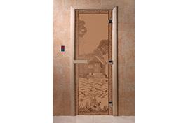Дверь банная DW  1900х700 ольха БРОНЗА МАТОВОЕ с рис. Банька в лесу