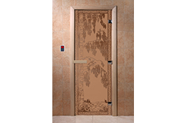 Дверь банная DW  1900х700 ольха БРОНЗА МАТОВОЕ с рис. Березка