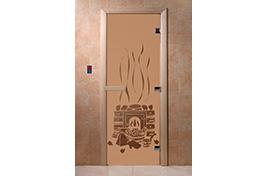 Дверь банная DW  1900х700 ольха БРОНЗА МАТОВОЕ с рис. Банька