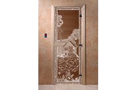 Дверь банная DW  1900х700 ольха БРОНЗА с рис. Банька в лесу