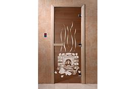 Дверь банная DW  1900х700 ольха БРОНЗА с рис. Банька
