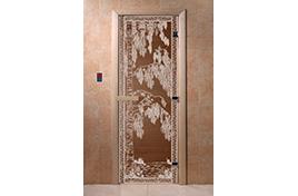 Дверь банная DW  1900х700 ольха БРОНЗА с рис. Березка