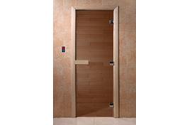 Дверь банная DW  1900х700 хвоя БРОНЗА  КРУГЛАЯ РУЧКА С ЗАЩЕЛКОЙ 2 петли