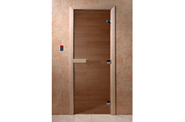 Дверь банная DW  1900х700 хвоя БРОНЗА 6мм 2 петли