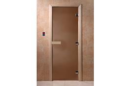 Дверь банная DW  1900х700 хвоя БРОНЗА МАТОВАЯ  6мм 2 петли
