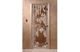 Дверь банная DW  1900х700 хвоя БРОНЗА с рис. Березка КРУГЛАЯ РУЧКА С ЗАЩЕЛКОЙ 6мм 2 петли