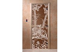 Дверь банная DW  1900х700 хвоя БРОНЗА с рис. Мишки КРУГЛАЯ РУЧКА С ЗАЩЕЛКОЙ 6мм 2 петли