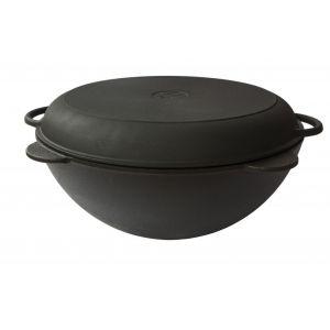 Кастрюля-казан чугунная 13л с чугунной крышкой-сковородой
